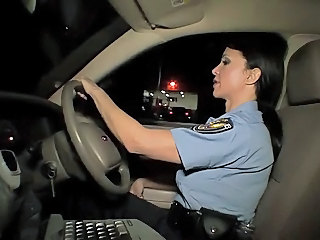 Amazing Babe Big Tits Brunette Car Uniform
