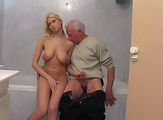 Bathroom Big Tits Blonde Cute Daddy Handjob Old and Young