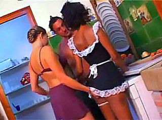 Amazing Babe Kitchen Maid Skirt Threesome