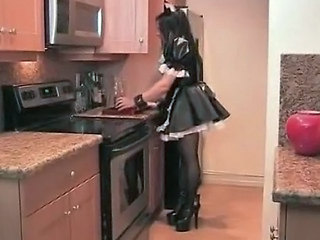 Brunette Kitchen Long hair Maid