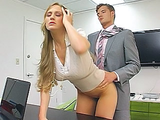 Amazing Babe Blonde Clothed Doggystyle Long hair Office Secretary