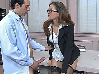 Amazing Babe Glasses Office Secretary Stockings