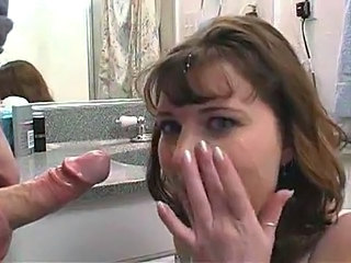 Amateur Bathroom Blowjob Facial