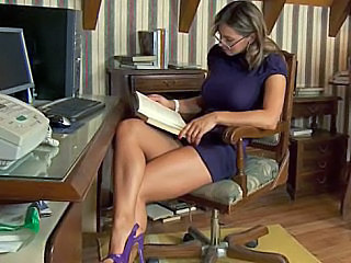 Amazing Babe European Glasses Legs Spanish Teacher
