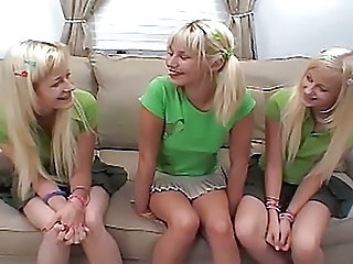 Blonde Cute Sister Skirt Teen Twins Young