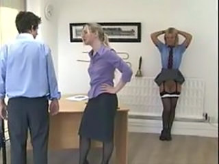 Amazing Babe Skirt Spanking Stockings
