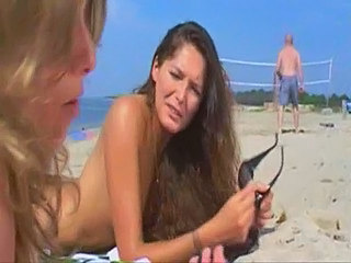 Beach Blonde Brunette French Nudist Outdoor