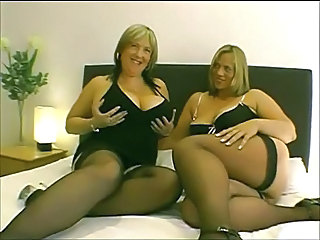 BBW Big Tits British Lesbian Mature Natural Stockings
