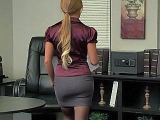 Blonde Office Pantyhose Solo Uniform