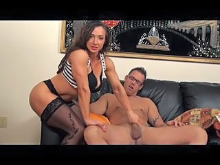 Brunette Handjob MILF Muscled Stockings
