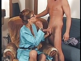 Brunette CFNM Glasses Handjob Mature