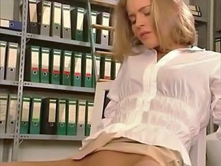 Amazing Blonde Insertion Lesbian Office