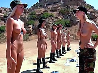 Amazing Army European Lesbian Natural Outdoor
