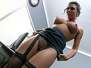Amazing Big Tits Brunette Office Pussy Stockings