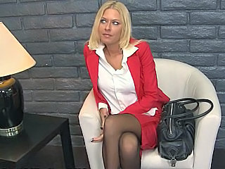 Amazing Blonde Blowjob Office Pantyhose Pornstar