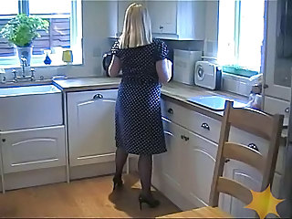 Amateur Kitchen MILF Stockings Wife