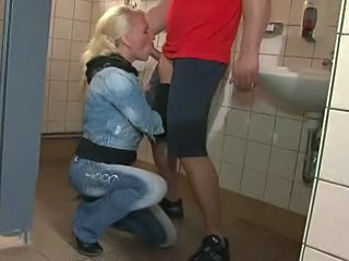 Bathroom Blonde Blowjob European German Mature