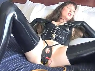 Brunette Latex Masturbating Mature Pornstar