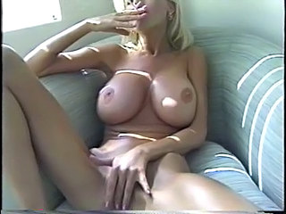 Big Tits Blonde Masturbating Smoking