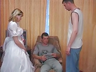Amateur Blonde Bride Threesome