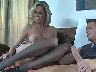 Big Tits Blonde MILF Pornstar Stockings