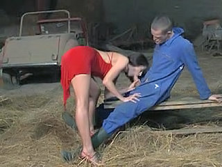Blowjob Brunette Farm Handjob MILF Outdoor Uniform
