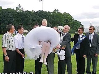 Bride Outdoor Stockings Upskirt