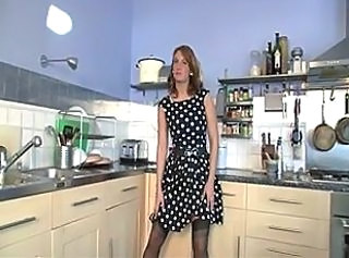 Amateur Brunette Kitchen MILF Stockings