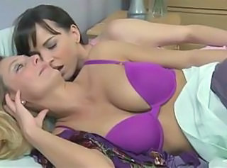 Blonde Brunette Daughter Kissing Lesbian Lingerie Mom