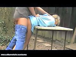 Amateur Blonde Doggystyle Forced Outdoor Russian