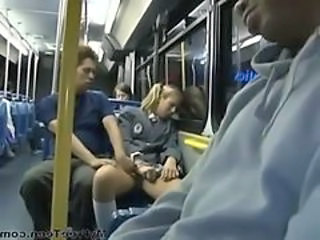 Amateur Blonde Bus Cute Sleeping Teen