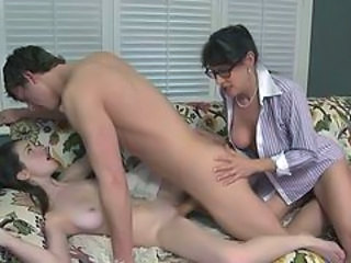 Brunette Daughter Family Mom Small Tits Threesome