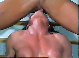 Brunette Lesbian Licking Muscled Pussy Shaved