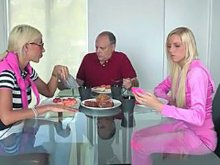 Amateur Blonde Cute Family Glasses Kitchen Threesome