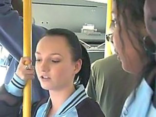 Brunette habituated increased apart from banged apart from strangers on public bus