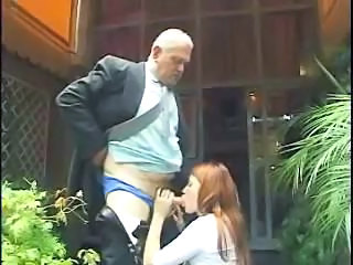 Blowjob Clothed Old and Young Outdoor Redhead Teen Young