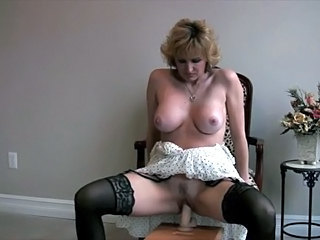 Dildo Masturbating MILF Natural Solo Stockings Toy