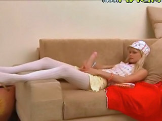 Blonde Funny Stockings Teen