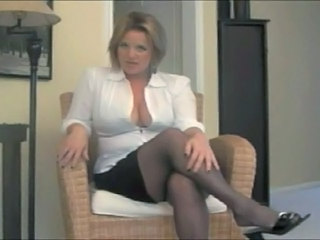 Big Tits Blonde MILF Pornstar Skirt