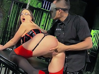 Ass Babe British Brunette Corset Glasses Masturbating Pornstar Stockings