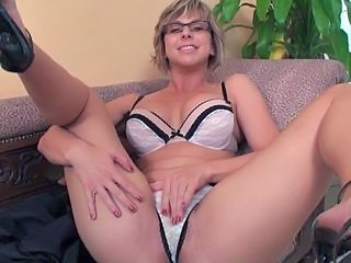 Blonde Glasses Lingerie Masturbating MILF