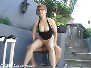 Blonde Family French Glasses MILF Outdoor Riding Small Tits