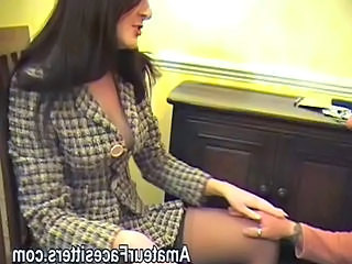 British Brunette MILF Office Pornstar Stockings