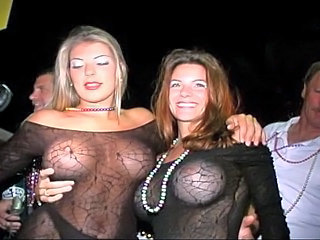 two beauties flashing