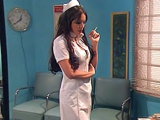 Babe Brunette Doctor Nudist Pornstar Smoking Uniform