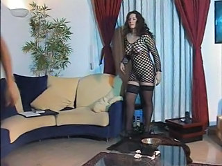 Big Tits Brunette Fishnet MILF Stockings