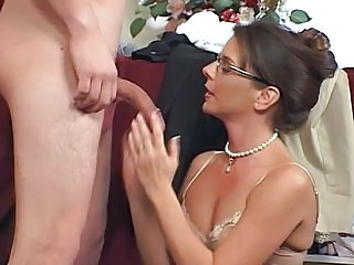 Blowjob Brunette Glasses Handjob MILF Pornstar