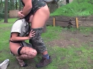 Amateur Army Blowjob Brunette Deepthroat Outdoor Pussy Stockings Teen