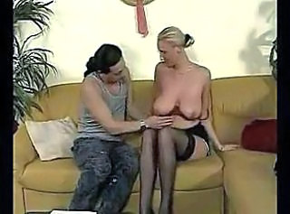 Amazing Big Tits Blonde MILF Natural Stockings