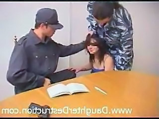 Army Brunette Hardcore Teen Threesome